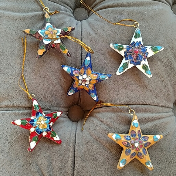 """Cloisonne Star (5) Ornaments 2.25"""" New in Box"""